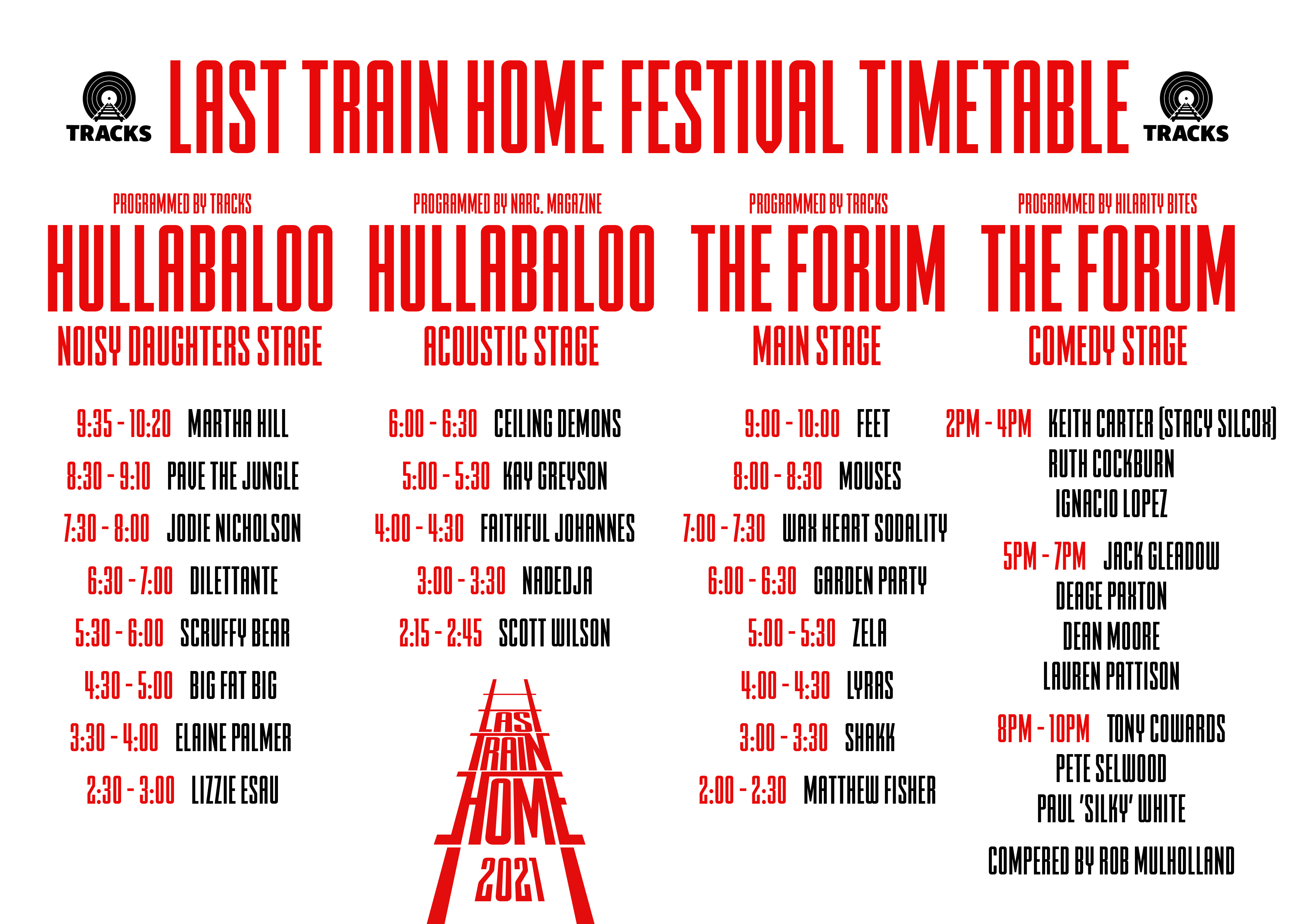 An inky red and black explosion of artist names who're jumping on board for this year's festival